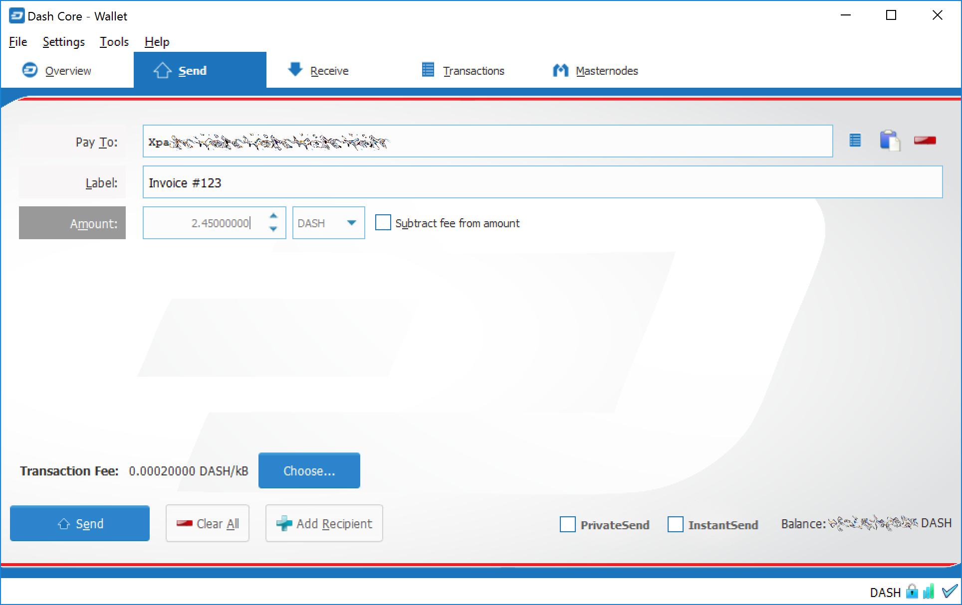 DASH达世币钱包Dash Core发送和接收使用教程