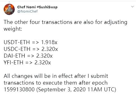 火星一线 | REN-ETH、SRM-ETH等LP池将加入SushiSwap,SUSHI-ETH奖励权重上调至4.796倍